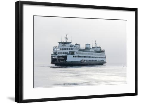 Washington State, Puget Sound. Ferry with Dense Fog Bank Limiting Visibility-Trish Drury-Framed Art Print