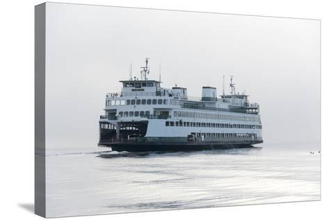 Washington State, Puget Sound. Ferry with Dense Fog Bank Limiting Visibility-Trish Drury-Stretched Canvas Print