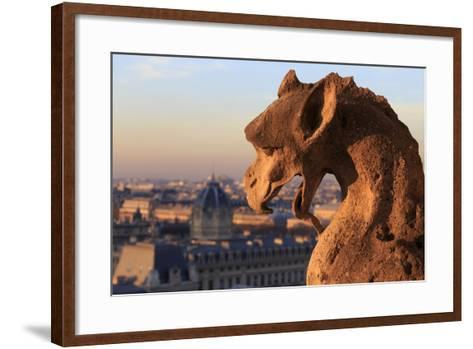 Looking Out over City, Paris, France from Roof, Notre Dame Cathedral with a Gargoyle in Foreground-Paul Dymond-Framed Art Print