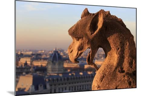 Looking Out over City, Paris, France from Roof, Notre Dame Cathedral with a Gargoyle in Foreground-Paul Dymond-Mounted Photographic Print