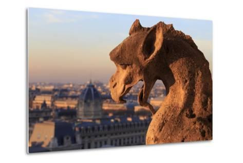 Looking Out over City, Paris, France from Roof, Notre Dame Cathedral with a Gargoyle in Foreground-Paul Dymond-Metal Print