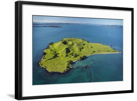 Volcanic Craters on Browns Island, or Motokorea, Hauraki Gulf, Auckland, North Island, New Zealand-David Wall-Framed Art Print