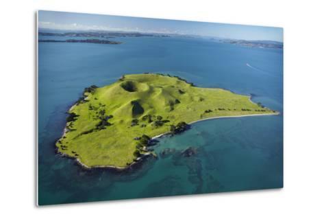 Volcanic Craters on Browns Island, or Motokorea, Hauraki Gulf, Auckland, North Island, New Zealand-David Wall-Metal Print