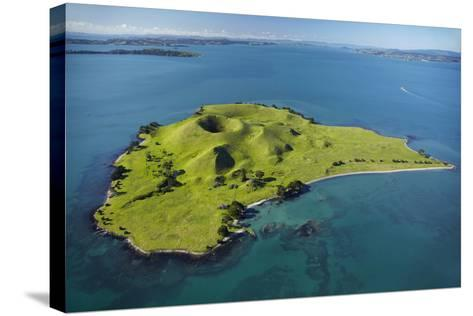 Volcanic Craters on Browns Island, or Motokorea, Hauraki Gulf, Auckland, North Island, New Zealand-David Wall-Stretched Canvas Print