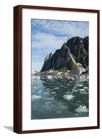 Norway, Barents Sea, Svalbard, Spitsbergen. Hamiltonbukukta, Raudfjord. Floating Ice in Calm Bay-Cindy Miller Hopkins-Framed Art Print