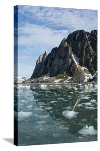 Norway, Barents Sea, Svalbard, Spitsbergen. Hamiltonbukukta, Raudfjord. Floating Ice in Calm Bay-Cindy Miller Hopkins-Stretched Canvas Print