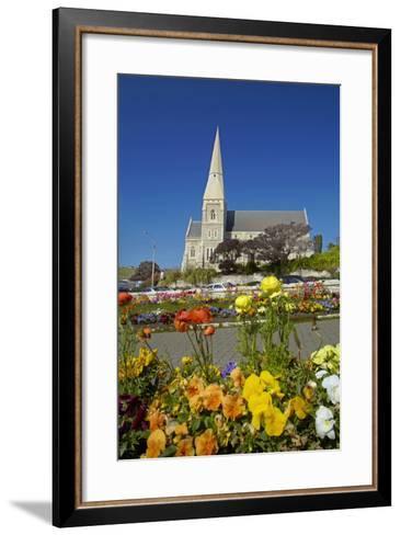Flowers and St. Luke's Anglican Church, Oamaru, North Otago, South Island, New Zealand-David Wall-Framed Art Print