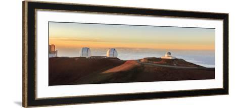 Panorama. Sunset at Maunakea Observatory. Hawaii. Usa-Tom Norring-Framed Art Print