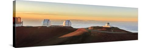 Panorama. Sunset at Maunakea Observatory. Hawaii. Usa-Tom Norring-Stretched Canvas Print