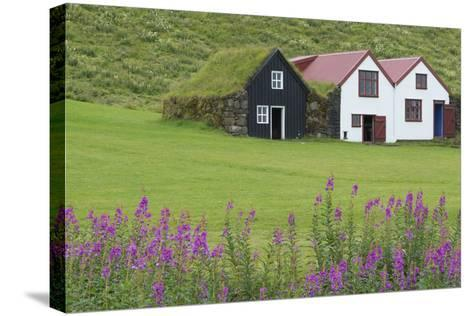 Skogasafn Turf Houses and Church in South Iceland-Bill Bachmann-Stretched Canvas Print