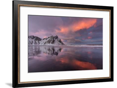 Vestrahorn Mountain in Winter Near Hofn, Iceland-Chuck Haney-Framed Art Print