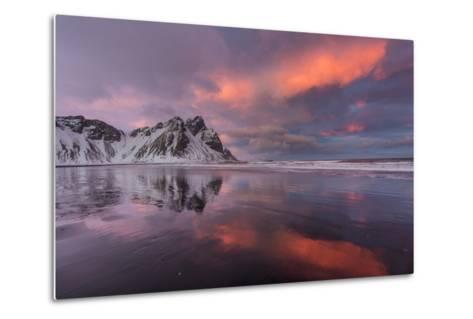 Vestrahorn Mountain in Winter Near Hofn, Iceland-Chuck Haney-Metal Print