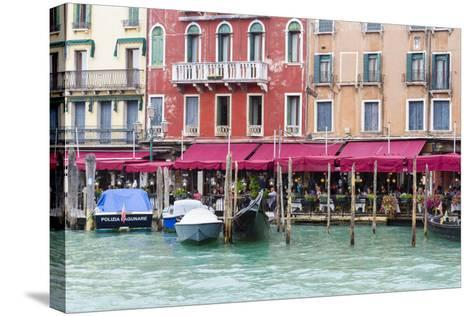 Gondolas and Restaurants at Grand Canal. Venice. Italy-Tom Norring-Stretched Canvas Print