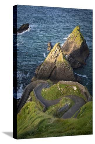 Windy Road to Dunquin Harbor, Dunquin, County Kerry, Republic of Ireland-Brian Jannsen-Stretched Canvas Print