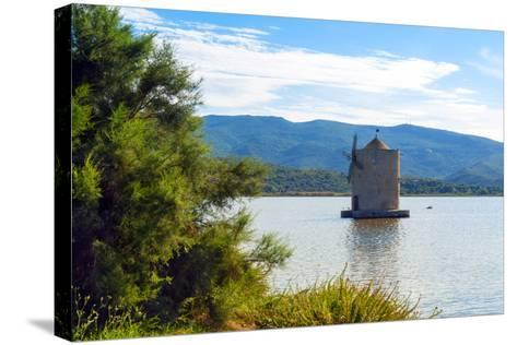 The Spanish Windmill on the Lagoon of Orbetello, Orbetello, Grosseto Province, Tuscany, Italy-Nico Tondini-Stretched Canvas Print