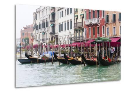 Gondolas and Restaurants at Grand Canal. Venice. Italy-Tom Norring-Metal Print