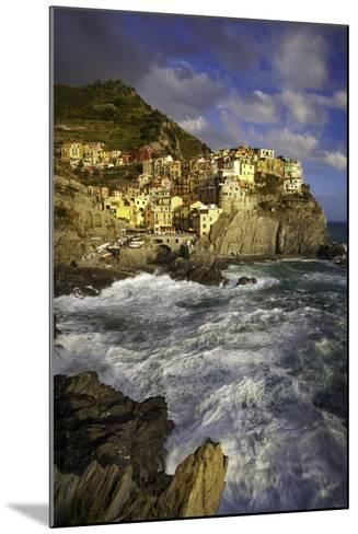 Swirling Ocean at the Foot of Medieval Town of Manarola in the Cinque Terre, Liguria Italy-Brian Jannsen-Mounted Photographic Print