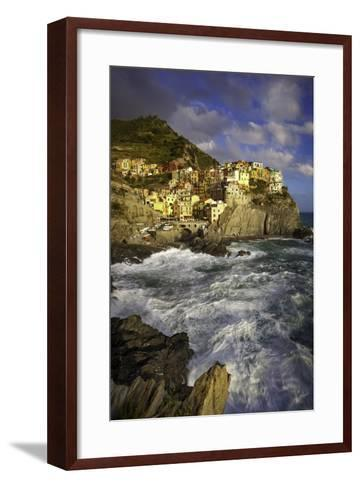 Swirling Ocean at the Foot of Medieval Town of Manarola in the Cinque Terre, Liguria Italy-Brian Jannsen-Framed Art Print