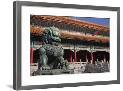 Dragon Bronze Statue with Hand , the Ming Dynasty-William Perry-Framed Art Print