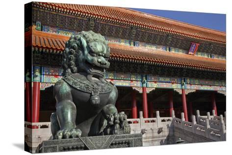 Dragon Bronze Statue with Hand , the Ming Dynasty-William Perry-Stretched Canvas Print