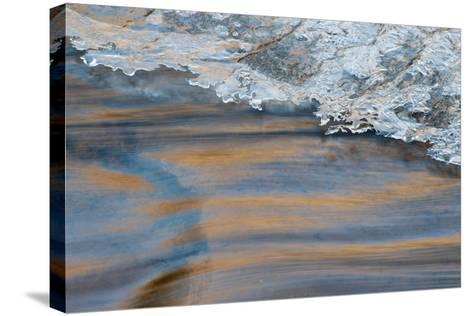 Utah, Abstract Frozen Ice Pattern and Waters of Mill Creek, Moab-Judith Zimmerman-Stretched Canvas Print