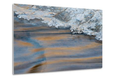 Utah, Abstract Frozen Ice Pattern and Waters of Mill Creek, Moab-Judith Zimmerman-Metal Print