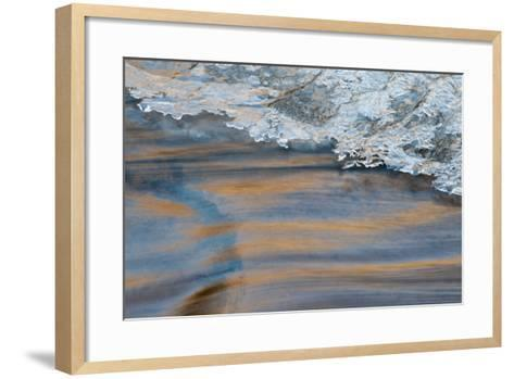 Utah, Abstract Frozen Ice Pattern and Waters of Mill Creek, Moab-Judith Zimmerman-Framed Art Print