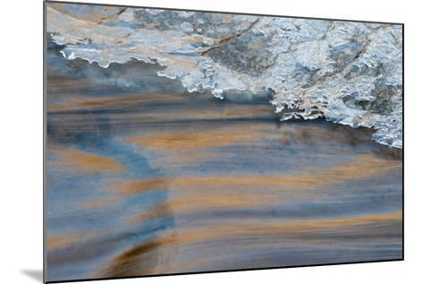 Utah, Abstract Frozen Ice Pattern and Waters of Mill Creek, Moab-Judith Zimmerman-Mounted Photographic Print