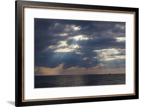 A Fishing Trawler under Storm Clouds at Duck Harbor Beach in Wellfleet, Massachusetts. Cape Cod-Jerry and Marcy Monkman-Framed Art Print