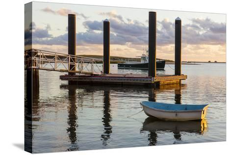 Skiffs Next to the Commercial Fishing Pier in Chatham, Massachusetts. Cape Cod-Jerry and Marcy Monkman-Stretched Canvas Print