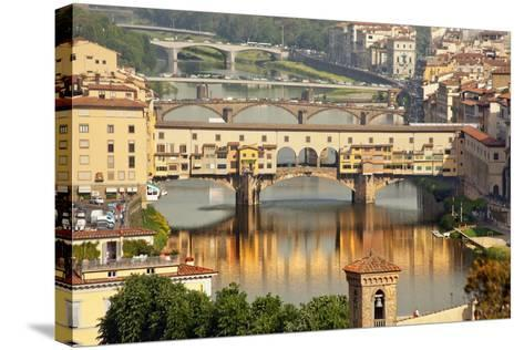 Ponte Vecchio Covered Bridge over Arno River, Florence, Italy-William Perry-Stretched Canvas Print