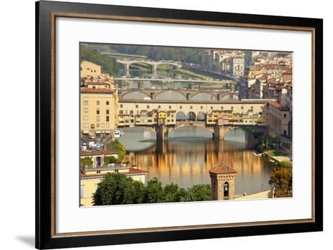 Ponte Vecchio Covered Bridge over Arno River, Florence, Italy-William Perry-Framed Art Print