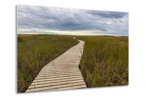 The Boardwalk Through the Tidal Marsh at Mass Audubon's Wellfleet Bay Wildlife Sanctuary-Jerry and Marcy Monkman-Metal Print