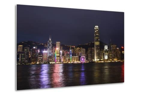 Hong Kong, China. Skyline Harbor with New Ferris Wheel and Reflections , Background-Bill Bachmann-Metal Print
