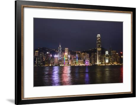 Hong Kong, China. Skyline Harbor with New Ferris Wheel and Reflections , Background-Bill Bachmann-Framed Art Print
