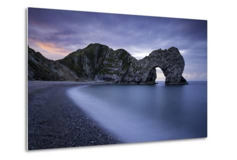 Colorful Sky at Dawn over Durdle Door Along the Jurassic Coast, Dorset, England-Brian Jannsen-Metal Print