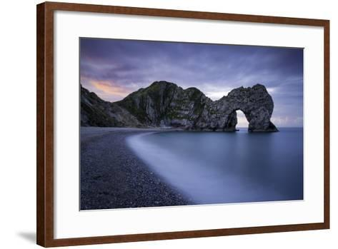 Colorful Sky at Dawn over Durdle Door Along the Jurassic Coast, Dorset, England-Brian Jannsen-Framed Art Print