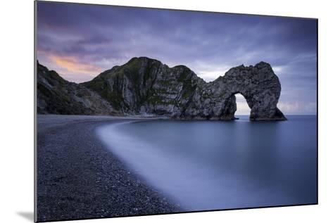 Colorful Sky at Dawn over Durdle Door Along the Jurassic Coast, Dorset, England-Brian Jannsen-Mounted Photographic Print