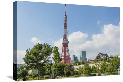 Tokyo, Japan. Tokyo Tower and the Zojo-Ji Temple in Shiba Neighborhood-Bill Bachmann-Stretched Canvas Print