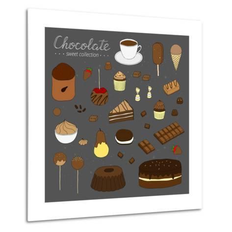 Hand Drawn Chocolate Products Isolated on Chalkboard. Cocoa, Chocolate Cake, Cupcake, Bundt, Ice Cr-Minur-Metal Print
