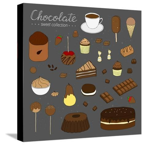 Hand Drawn Chocolate Products Isolated on Chalkboard. Cocoa, Chocolate Cake, Cupcake, Bundt, Ice Cr-Minur-Stretched Canvas Print