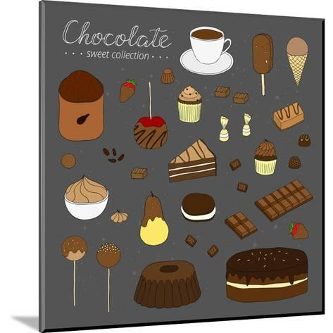 Hand Drawn Chocolate Products Isolated on Chalkboard. Cocoa, Chocolate Cake, Cupcake, Bundt, Ice Cr-Minur-Mounted Art Print