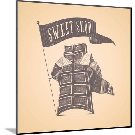 Chocolate Shop Sweets Store Vector Logo Icon Symbol Emblem. Cute Hand Drawn Funny Graphic Design El-Darth Vector-Mounted Art Print