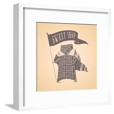 Chocolate Shop Sweets Store Vector Logo Icon Symbol Emblem. Cute Hand Drawn Funny Graphic Design El-Darth Vector-Framed Art Print