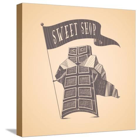 Chocolate Shop Sweets Store Vector Logo Icon Symbol Emblem. Cute Hand Drawn Funny Graphic Design El-Darth Vector-Stretched Canvas Print