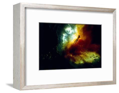 A Woman Swimming in Tannin-Rich Waters Where They Mix with Clear Spring-Fed Waters-David Doubilet-Framed Art Print