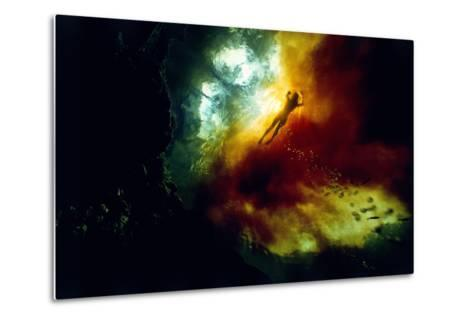 A Woman Swimming in Tannin-Rich Waters Where They Mix with Clear Spring-Fed Waters-David Doubilet-Metal Print