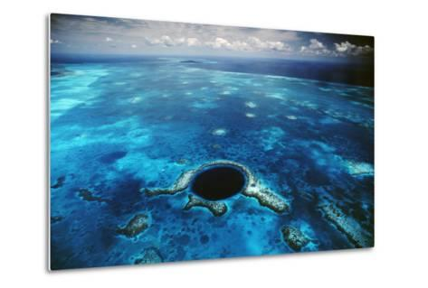 An Aerial View of the Blue Hole Off of the Coast of Belize-David Doubilet-Metal Print