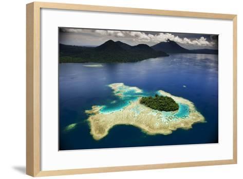 Volcanoes Shrouded in Rain Forest Slope Toward an Island in Kimbe Bay-David Doubilet-Framed Art Print