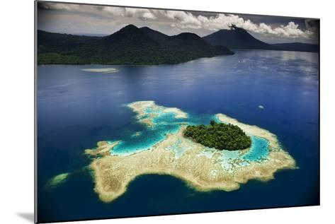 Volcanoes Shrouded in Rain Forest Slope Toward an Island in Kimbe Bay-David Doubilet-Mounted Photographic Print